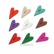 100pcs Mixed Heart Wood 2 Holes Sewing Button Scrapbooking 24mm 111636