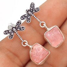 Dragonfly - Morganite - Pink Emerald Rough 925 Silver Earrings SE118250