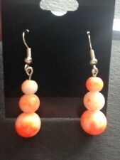 Orange Drawbench Glass Bead Earrings, Drawbench Glass, Drop Earrings