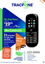 TracFone Alcatel OneTouch A205G Phone Double Minutes Kit with Car / Wall Charger