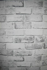 White Brick & grey effect Wallpaper Stone Wall Rustic slate tile free p&p