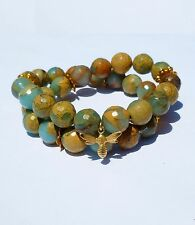 Faceted Green Opal and 14K Yellow Gold Dragon Fly Wrap Bracelet Handcrafted New