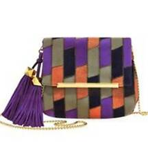NWT B Brian Atwood Purple/Multi Jacks Kid Suede Mini Crossbody Bag MSRP: $128