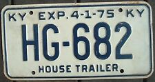 KENTUCKY Vintage 1975  House Trailer license plate  HG - 682
