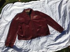 Vintage JEAN PIERRE Argentina Large 70s Red Leather Biker Jacket Mens 48 Western