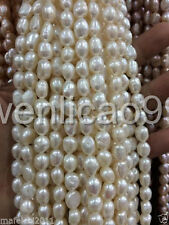 8-9MM White irregular freshwater Cultured pearl loose beads 13""