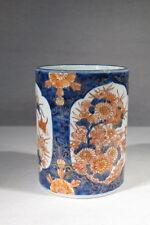 ANCIEN POT A PINCEAUX EN PORCELAINE JAPON IMARY POLYCHROME REHAUSSE OR SIGNE