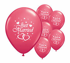 "8 JUST MARRIED DARK PINK 12"" HELIUM QUALITY PEARLISED WEDDING BALLOONS"