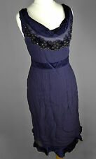 GHOST UK12 Dark Purple SILK Drape DRESS Bead Embellished Frill Trim Sleeveless