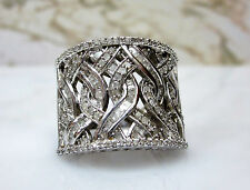 Thick 1 CT Baguette Diamond Wide Cigar Band Ring Braided Silver White Metal Sz 7