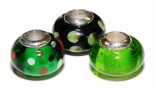 3 x Pre-Owned Sterling Silver & Murano Glass Charms/Beads - Green #11