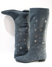 Gibellieri 3358a Blue Denim Summer Metallic Studs Knee-High Boots 36 / US 6