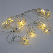 Indoor Warm White Fairy Lights Shaped As Small Metal Love Hearts Christmas Decor