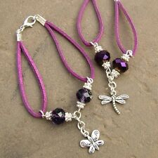 A / TWO CHARM BRACELET KITS 10MM PURPLE CRYSTAL RONDELLE BEADS JEWELLERY MAKING