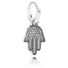 Authentic Pandora Silver Hanging Symbol of Protection Hamsa CZ Pendant 791307CZ