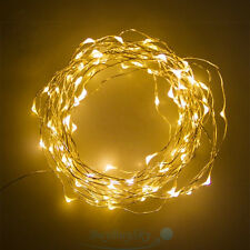10M 100LEDs Warm White Battery Powered Copper Wire Xmas Party String Fairy Light