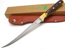 ELK RIDGE Brown Bone Straight Full Tang SKINNER Fillet Knife + Sheath!  ER-146