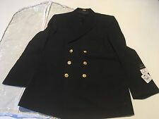 FLYING CROSS, USN COAT, DOUBLE BREASTED, GOLD BUTTONS, SIZE 44R, COLOR BLACK