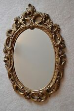 "30"" x19.5 Vintage Homco Ornate Bronze/Brass-Tone Syroco Swirls-Roses Wall Mirror"