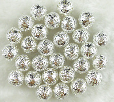 50Pcs 10mm Silver Plated Metal Filigree Spacer Loose Beads ~ Charms Findings