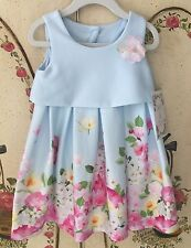 NEW Toddler Girls Size 3T Bonnie Jean Iris & Ivy Easter Blue Floral Dress NWT