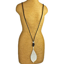 Lagenlook silver colour leaf pendant black leather long necklace