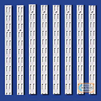 WHITE Shelf UPRIGHTS for Twinslot Shelving System Twin Slot Adjustable Racking