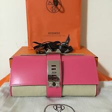 BNIB Authentic Hermes Medor Clutch ROSE LIPSTICK PINK PHW