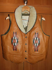 Ralph Lauren Denim and Supply Gilet Down Filled Leather Front Vest Womens XL