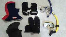 scuba and free dive gear mask snorkel booties gloves hoods