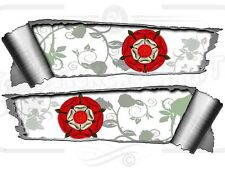 Pair of Rolled Back Ripped torn Metal Effect English Rose  Vinyl Car Stickers