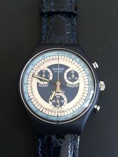 SWATCH Chrono SCN 102 SILVER STAR 1991 Originals Leder Leather Blaue Neu New!