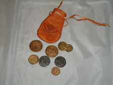 Real Like Leather Bag With Metal Coins Replica Pirates /Theatre Film Prop