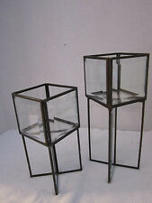 "(2) Beveled Glass Candle Stands Holders. Square. Metal Frames. 7.5"" & 10"" tall"
