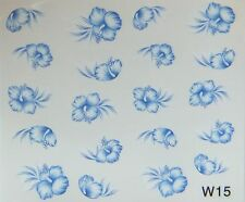 "Nail Art Nagel Sticker / Tattoos ""wasserlöslich""  one stroke blume blau w15"