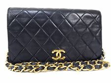 Authentic CHANEL GHW Black Lamb Leather Vintage Quilted Shoulder Bag W19 S544