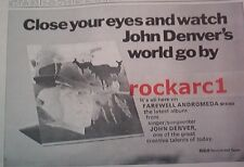 JOHN DENVER Farewell Andromeda 1973 UK Poster size Press ADVERT 16x12 inches