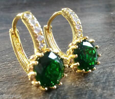 U06 18ct gold filled French hoop sim diamonds & round emeralds BOXD PlumUK