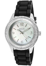 NWT RELIC BY FOSSIL ZOOEY BLACK SWAROVSKI CRYSTALS MOTHER OF PEARL WATCH ZR11904