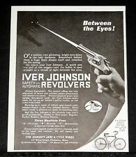 1919 OLD MAGAZINE PRINT AD, IVER JOHNSON, AUTOMATIC REVOLVERS, BETWEEN THE EYES!