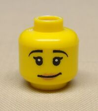 x1 NEW Lego Minifig Head Girl Female w/ Crooked Smile & Pale Pink Lipstick