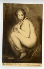 (w16i303-100) Young Girl Getting Ready for her Bath c1910 Unused