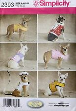 Small Dinky DOG CLOTHES Simplicity Pattern 2393 NEW Sizes XXS-M Jackets, Beret