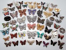 Lot of 60 x Vintage BUTTERFLY Insect Theme Mixed Costume Brooches inc. ENAMEL