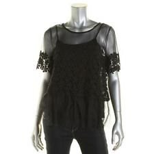 Elie Tahari 6742 Womens Noreen Black Lace sheer Short Sleeves Blouse Top L BHFO