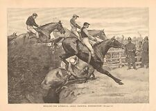 Horse Racing, England, Liverpool, Grand National Steeplechase,1890 Antique Print