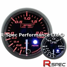 Prosport Premium / Peak 52mm Clear Lens / White Needle Turbo Boost Gauge - Bar