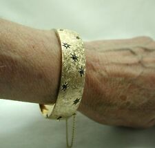 Fabulous Heavy Rosie 9ct Gold And Sapphire Hinged Bangle