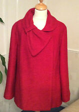 MARKS & SPENCERS ..  PER UNA  .. RED BOUCLE STYLE JACKET / COAT .. UK SIZE 18