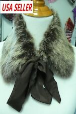 New Real Genuine Rabbit Fur Collar Scarf Shawl Wrap Neck Warmer Ribbon-Brown